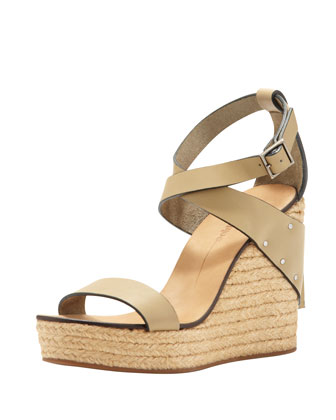 Khaki Leather Espadrille Wedge