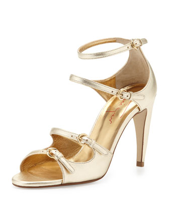 Metallic Strappy Sandal, Platinum