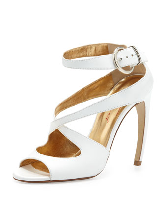 X-Cross Leather Sandal, White