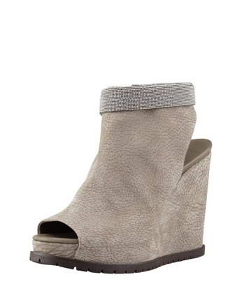 Nubuck Beaded-Ankle Wedge, Gray
