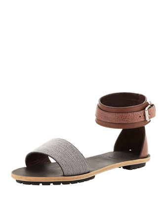 Beaded Ankle-Wrap Sandal, Brown