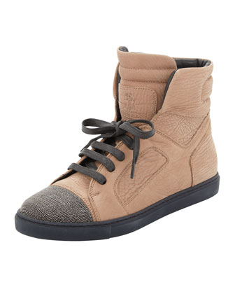 Monili-Toe Nubuck High-Top Sneaker, Biscotti