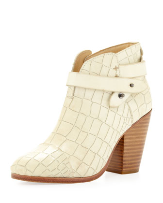 Harrow Crocodile-Embossed Ankle Boot, White