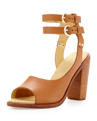 Tulsa Double-Ankle-Strap Sandal, Tan