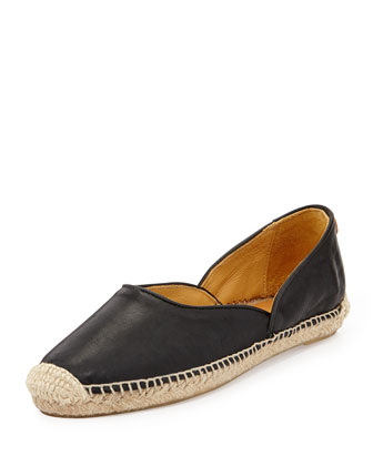 Georgie Leather Espadrille Flat, Black