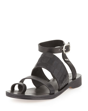 Chartan Croc-Embossed Toe-Ring Sandal