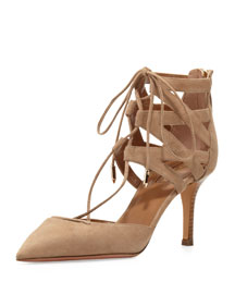 Belgravia Lattice Suede Sandal, Nude