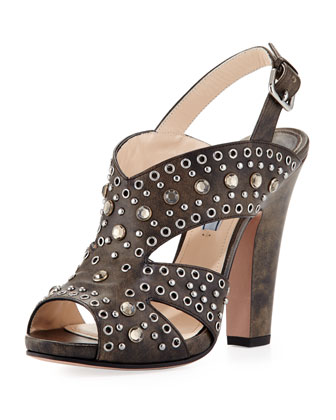 Vitello Vintage Studded Sandal, Black