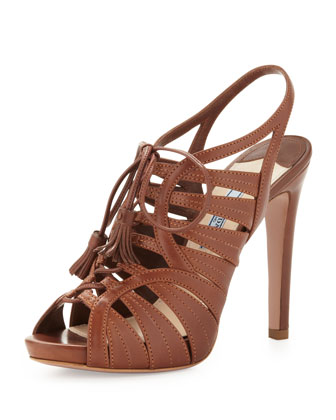 Strappy Leather Tassel Sandal, Brown