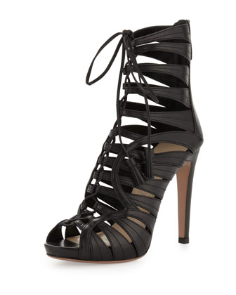Strappy Leather Tassel Bootie, Black