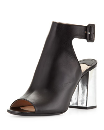 Leather Open-Toe Ankle-Wrap Bootie