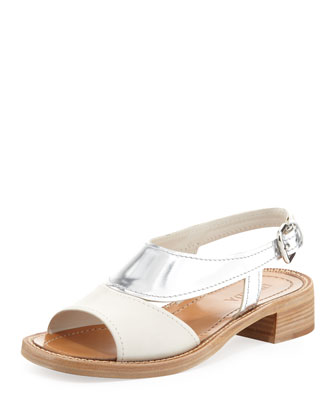 Metallic Low-Heel Sandal, White/Silver