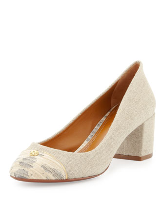 Ethel Linen Cap-Toe Pump, Natural