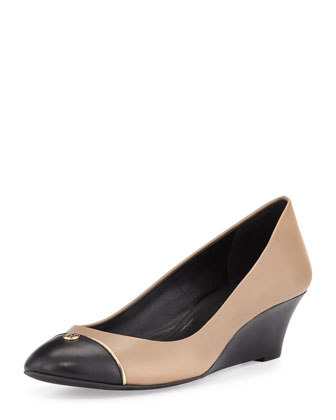 Tiffy Two-Tone Cap-Toe Wedge, Clay Beige/Black