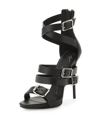 Wrap-Around Buckle Strap Sandal, Nero