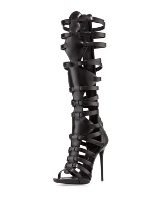 High-Heel Caged Knee Sandal