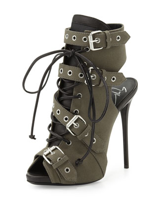 Military Buckled Lace-Up Boot, Militaire