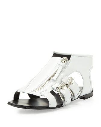 Buckled Zip-Up Cage Sandal, White