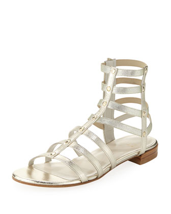 Caesar Metallic Leather Gladiator Sandal, Cava (Made to Order)