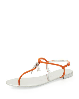 Mini Fish Bone Suede Thong Sandal, Orange