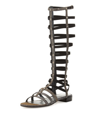 Glitter Knee-High Gladiator Sandal, Pyrite (Made to Order)