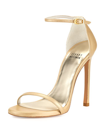 Nudist Ankle-Strap Sandal, Pale Gold