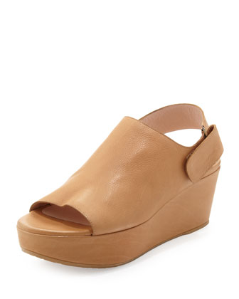 Offset Leather Peep-Toe Wedge, Pecan