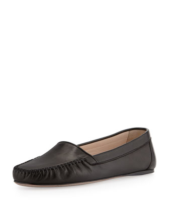 Napa X-Stitched Loafer Flat, Black