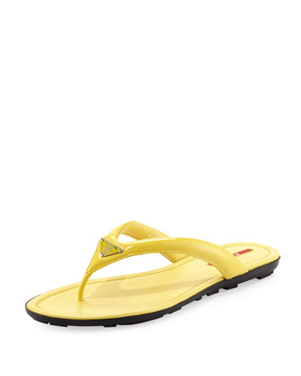 Flat Patent Leather Logo Thong Sandal, Yellow