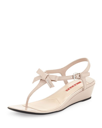 Patent Bow Demi-Wedge Sandal, Cipria