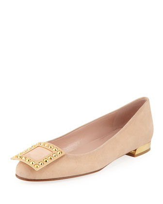 Wow Crystal-Buckle Suede Flat, Bisque
