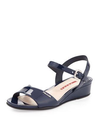 Vernice Demi-Wedge Sandal, Royal