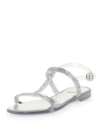Teezer Crystal Jelly Sandal, Clear