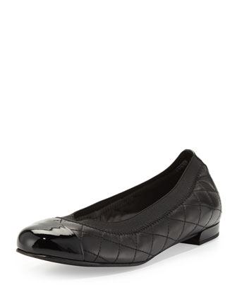 Quiltable Quilted Ballerina Flat, Black