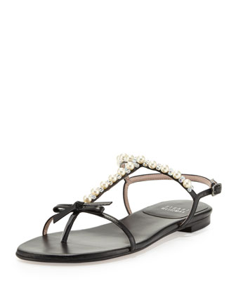Pearlize Beaded Leather Thong Sandal, Black