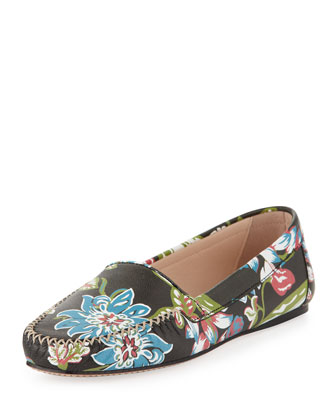 Floral-Print Leather Moccasin, Black