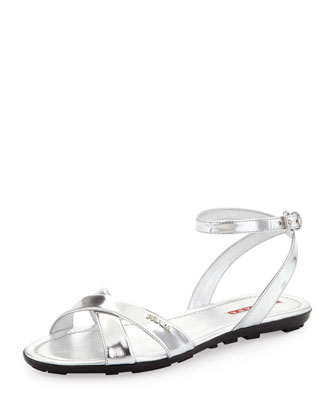 Metallic Ankle-Wrap Sandal
