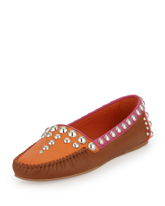 Studded Napa Loafer, Brown/Orange