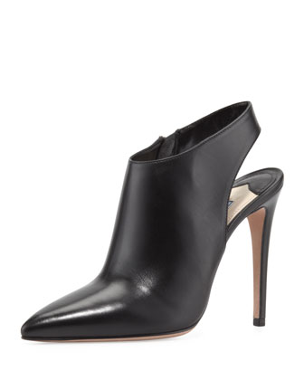 Calfskin Point-Toe Slingback Bootie, Black