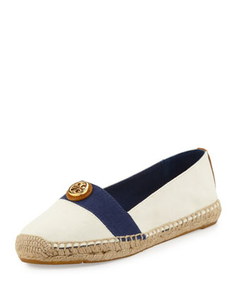 Beacher Canvas Espadrille Flat, Ivory/Newport Navy