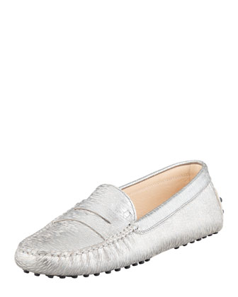 Metallic Penny Keeper Moccasin, Silver