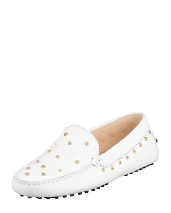 Studded Leather Driver, White