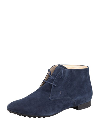 Rubber-Sole Suede Ankle Boot, Navy