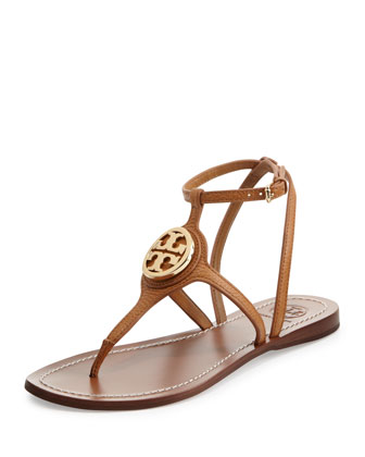 Leticia Logo Thong Sandal, Tan