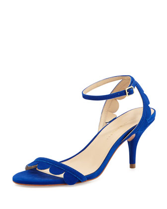 Lillit Scalloped Kitten-Heel Sandal, Blue