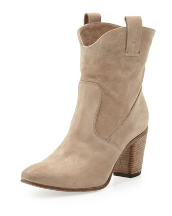 Chiara Slouchy Suede Ankle Boot, Bone