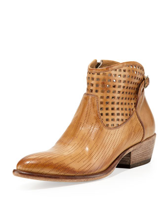 Dovadola Perforated Leather Bootie, Cognac