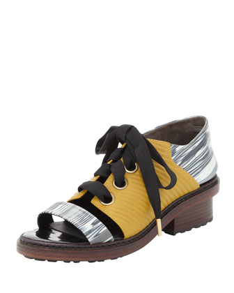 Floreana Lace-Up Open-Toe Loafer, Avocado/Black/White