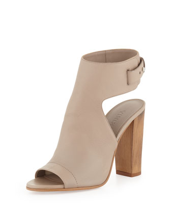 Addie Open-Toe Buckle-Back Bootie, Taupe