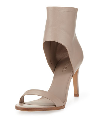Annalie Leather Ankle-Cuff Sandal, Taupe